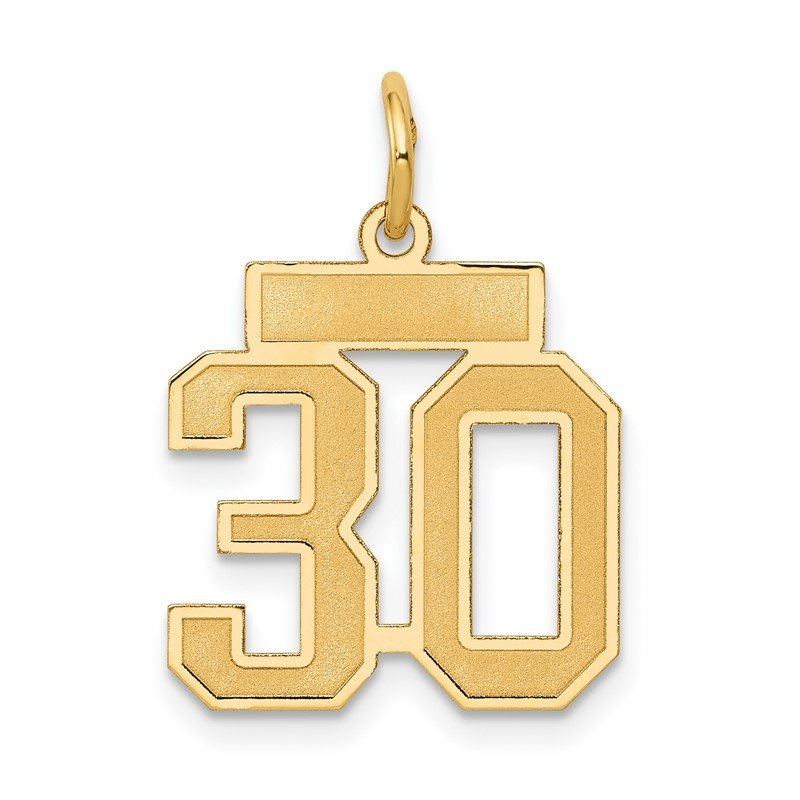 Quality Gold 14k Small Satin Number 30 Charm