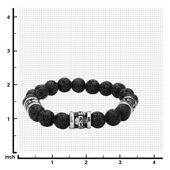 Steel and Black Lava Beads Bracelet