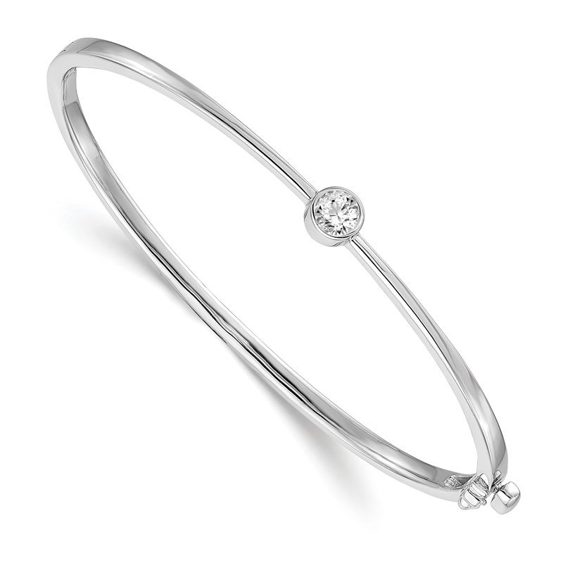 Quality Gold 14k White Gold AA Diamond Hinged Bangle