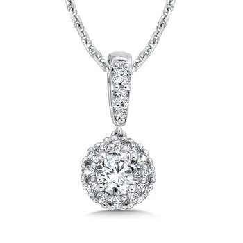 Diamond Round Halo Pendant with Diamond Bale in 14K White Gold (1/3ct. tw.)