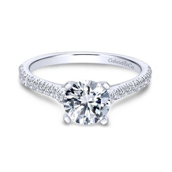 14k White Gold Diamond Straight Pave Engagement Ring with Cathedral Setting
