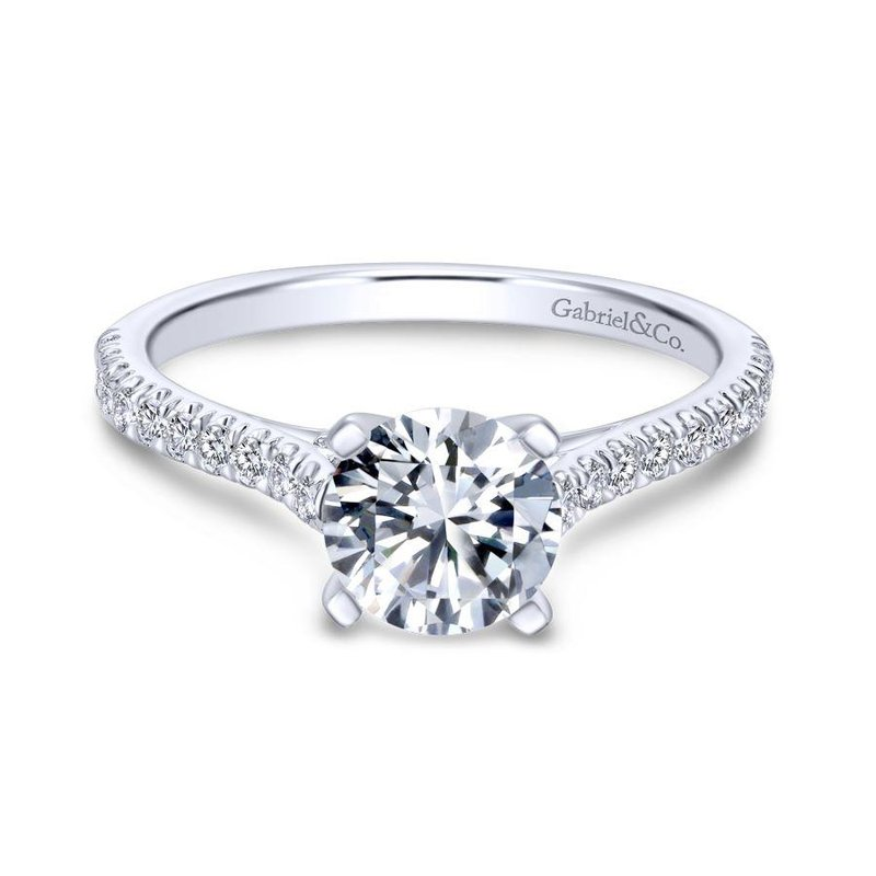 Gabriel  14k White Gold Diamond Straight Pave Engagement Ring with Cathedral Setting