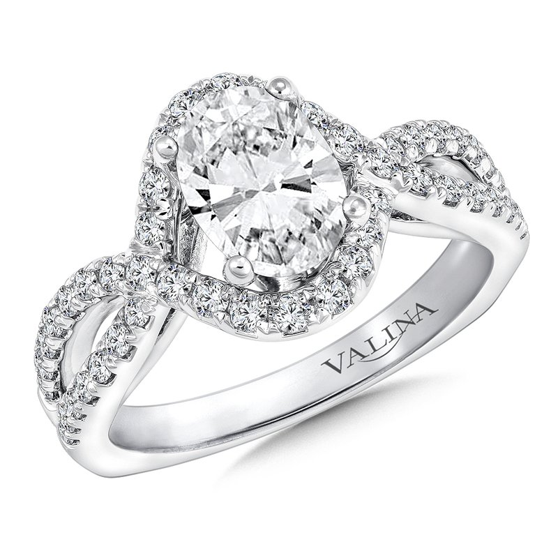 Valina Bridals Mounting with side stones .46 ct. tw., 1.25 ct. oval center.
