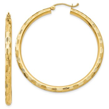 14k Textured Hoop Earrings