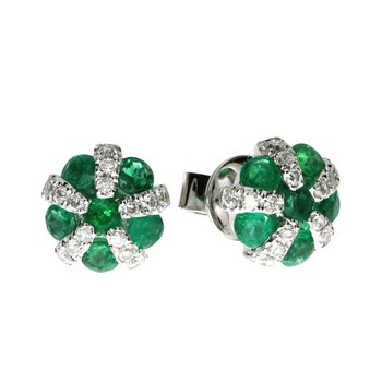 14k White Gold Emerald and Diamond Ball Earrings