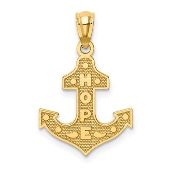 14K Satin / Polished HOPE Anchor Pendant