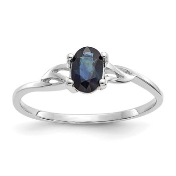 10k White Gold Polished Geniune Sapphire Birthstone Ring