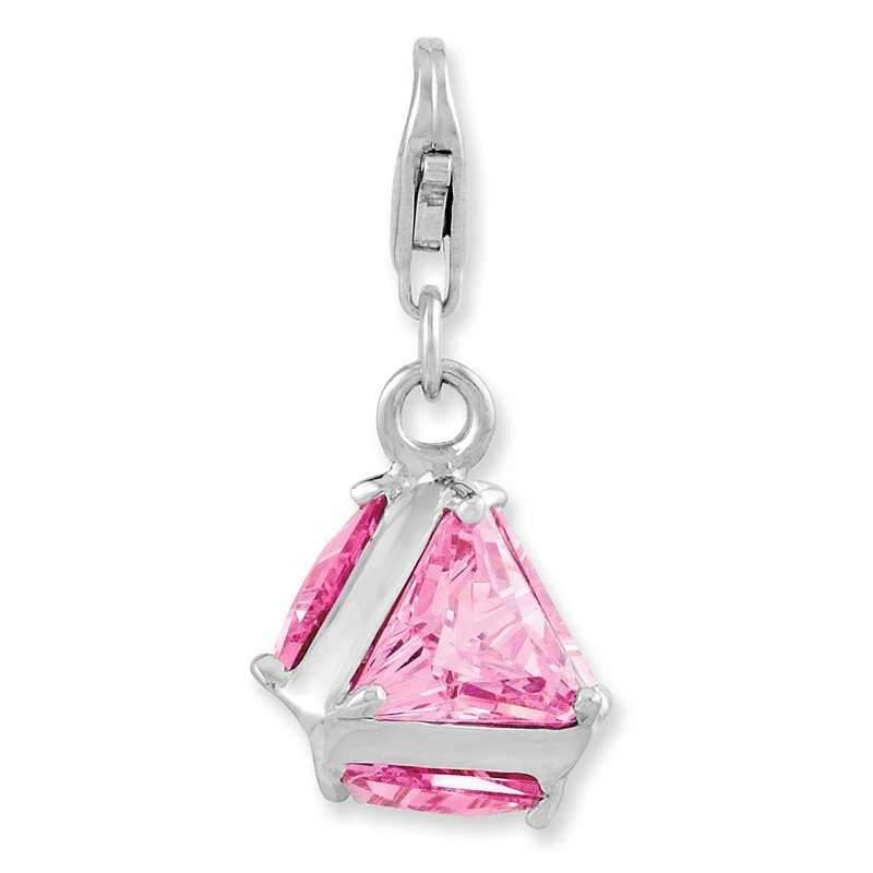 Quality Gold Sterling Silver Amore La Vita Rhodium-plated Polished 3-D Pink CZ Charm