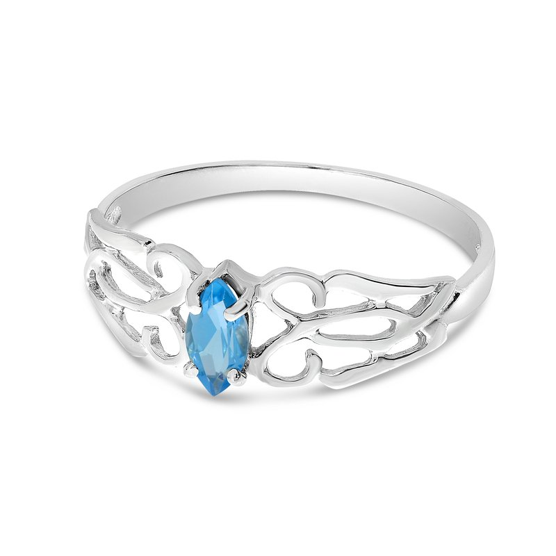 10k White Gold Marquise Blue Topaz Filagree Ring