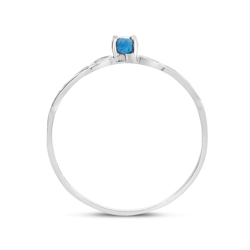 Color Merchants 10k White Gold Marquise Blue Topaz Filagree Ring