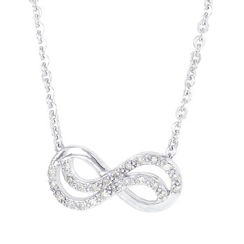 Sterling Silver 1/8ct Diamond Infinity Necklace