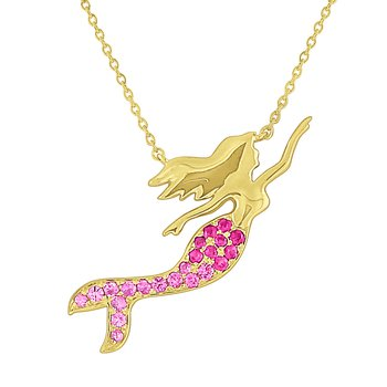 Pink Sapphire Mermaid Necklace Set in 14 Kt. Gold