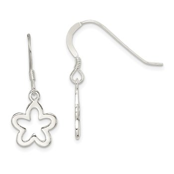 Sterling Silver Polished Flower Dangle Earrings