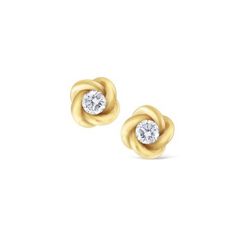 Diamond Stud Twist Earrings Set in 14 Kt. Gold