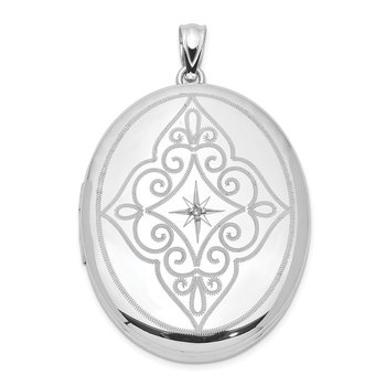 Sterling Silver Rhodium-plated & Diamond Center with Swirls 34mm Oval Locke