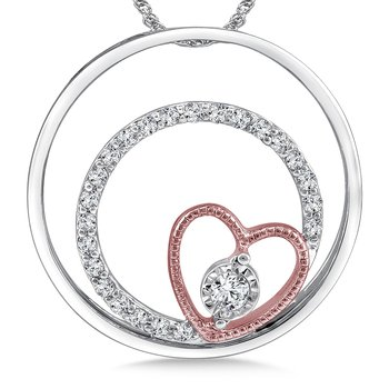 Diamond Heart Pendant in 14K White/Rose Gold (.15 ct. tw.)