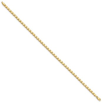 14k Polished Double-Sided Heart 10in Anklet