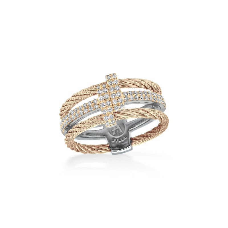 ALOR Carnation Dual Cable Opulence Ring with 18kt Rose Gold & Diamonds