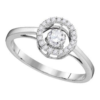 10kt White Gold Womens Round Diamond Moving Twinkle Solitaire Bridal Wedding Engagement Ring 1/5 Cttw