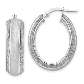 Leslie's 14k White Gold Glitter Hoop Earrings