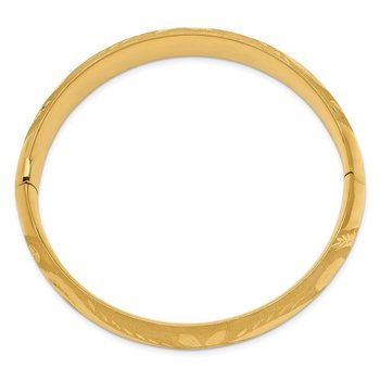 14k 9/16 Florentine Engraved Hinged Bangle Bracelet