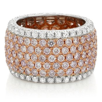 Wide White & Pink Diamond Eternity Band