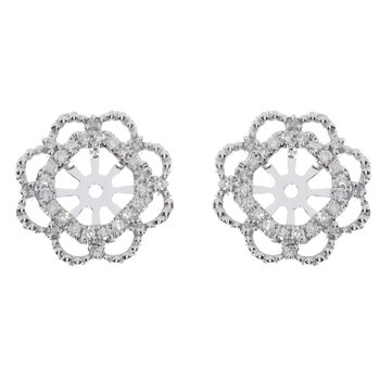 14K White Gold Diamond  Flower Earring Jackets
