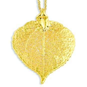 24k Gold Dipped Aspen Leaf with 20 inch Gold-plated Necklace