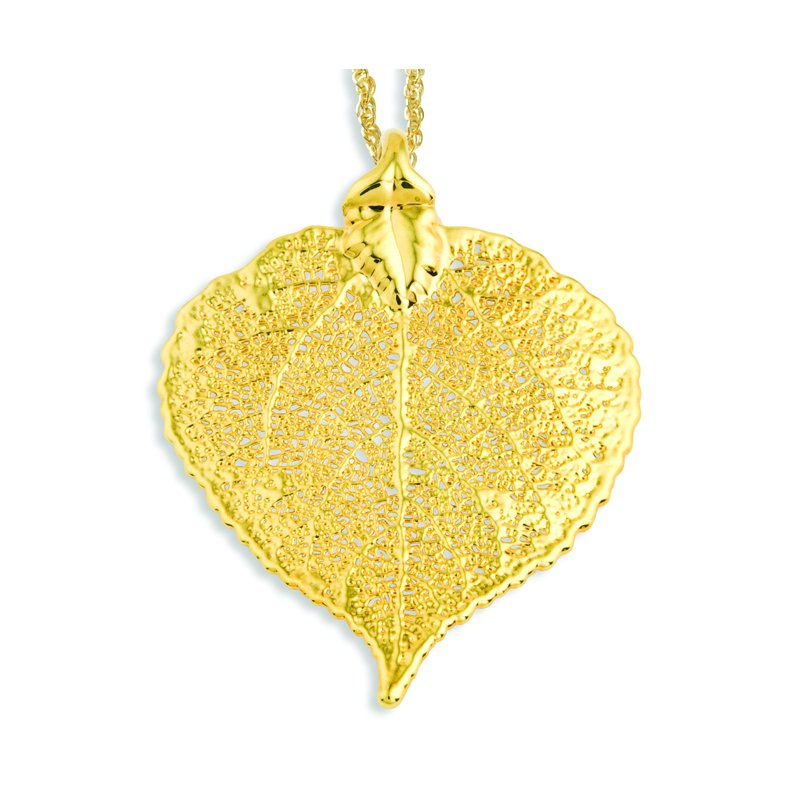 Quality Gold 24k Gold Dipped Aspen Leaf w/ Gold-plated Chain