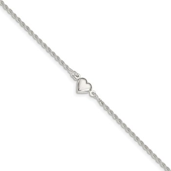 Sterling Silver Puffed Heart Anklet