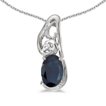14k White Gold Oval Sapphire And Diamond Pendant