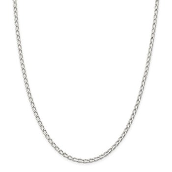 Sterling Silver Rhodium Plated 3.2mm Open Link Chain Anklet