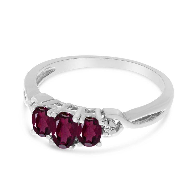 Color Merchants 14k White Gold Oval Rhodolite Garnet And Diamond Three Stone Ring
