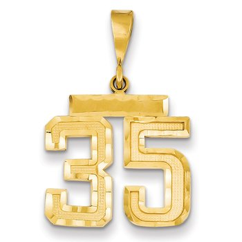 14k Medium Diamond-cut Number 35 Charm