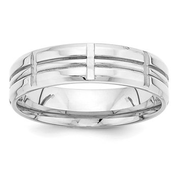 14k White Gold Light Comfort Fit Fancy Band