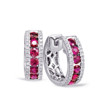 White Gold Ruby & Diamond Huggie