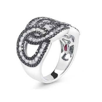 Cable Link Ring With Diamonds &Ndash; 6.5