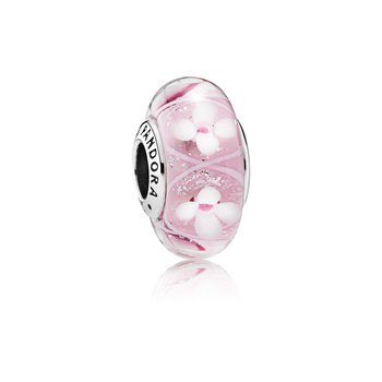 Pink Field of Flowers Charm, Murano Glass