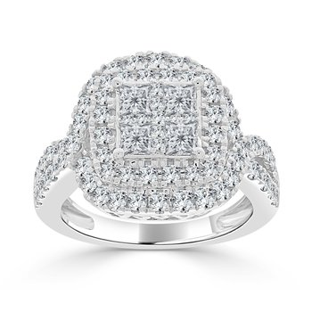 14 KT White gold Princess & Round Composite Engagement ring (2.14 CTW)