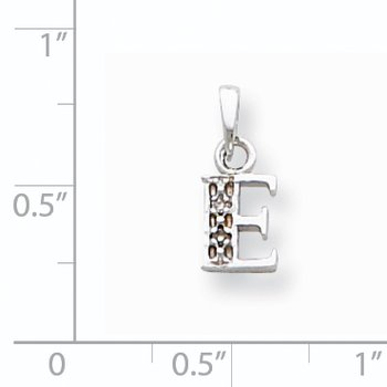 14KW Rhodium-plated Diamond Letter E Initial Pendant