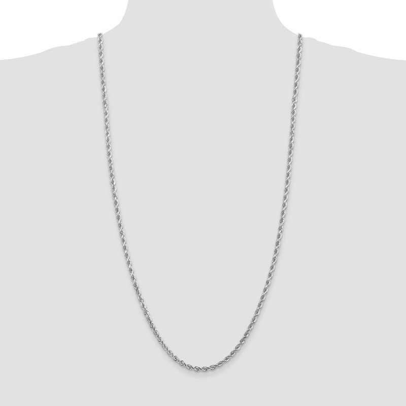 14k White Gold 4mm D/C Rope with Lobster Clasp Chain