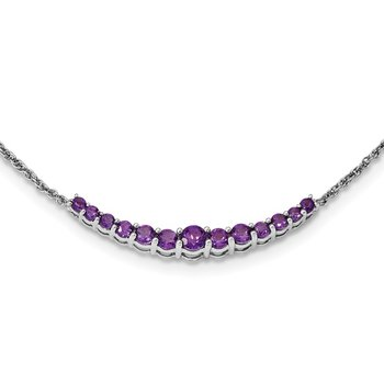 Sterling Silver Rhodium-plated Amethyst Pendant w/Necklace