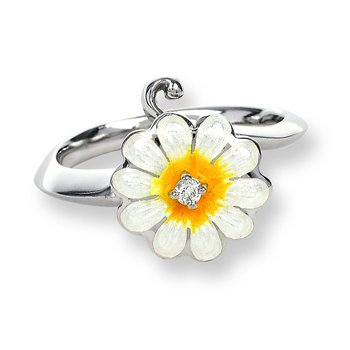 White Daisy Ring.Sterling Silver-White Sapphire