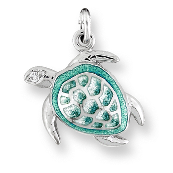 Sterling Silver Sea Turtle Charm-Green.  Diamonds.
