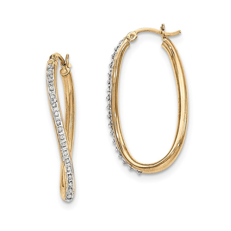Quality Gold Sterling Silver & Gold-plated Diamond Mystique Oval Twist Hoop Earrings