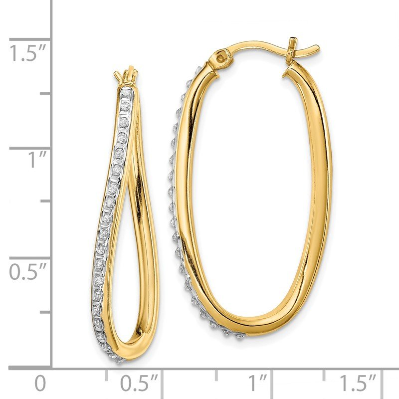 Lester Martin Online Collection Sterling Silver & Gold-plated Diamond Mystique Oval Twist Hoop Earrings
