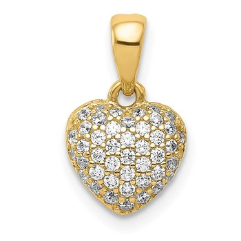 14K Polished CZ Heart Pendant