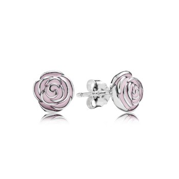 Rose Garden Stud Earrings, Pink Enamel