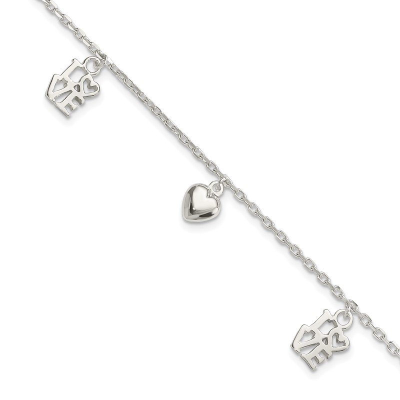Quality Gold Sterling Silver Heart and LOVE Charm Bracelet