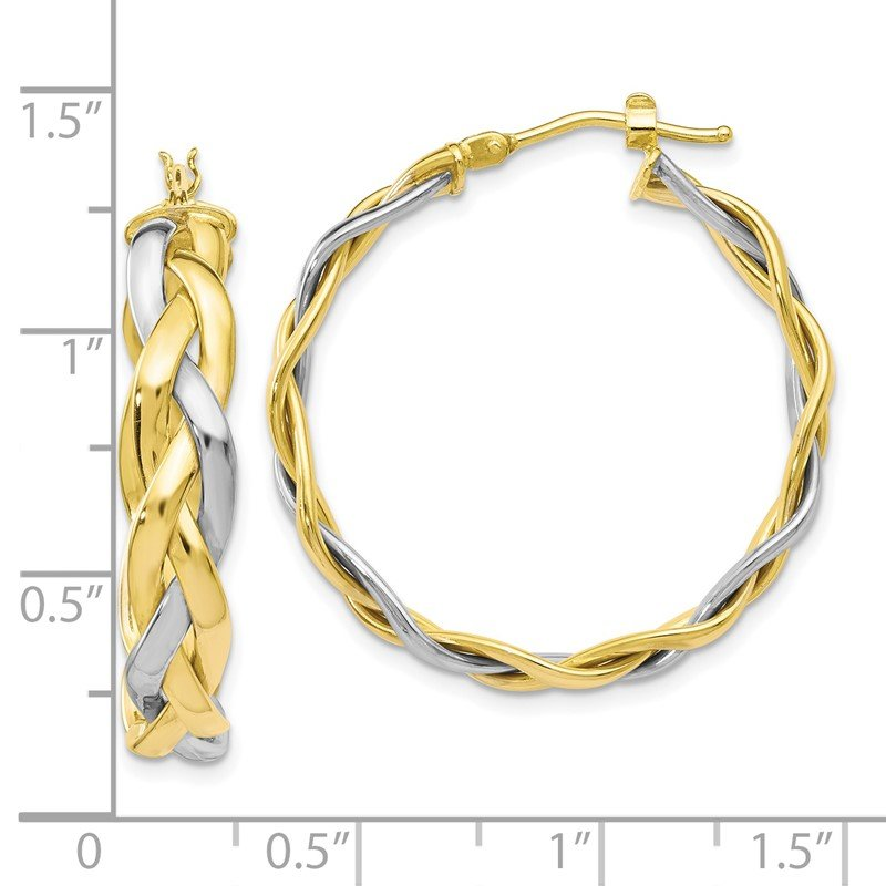 Leslie's Leslie's 10K Two-Tone Polished Braided Hoop Earrings